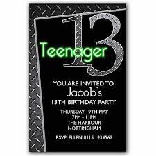 13th Party Invitations 10 Personalised Boys Girls Teenager 13th Birthday Party