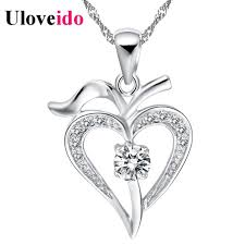 15 off necklace women heart white purple 2017 vintage silver necklaces pendants neckless gift colar femininos dhgate n639 high quality necklace clo china