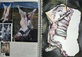 sketchbook page exploring meat carces
