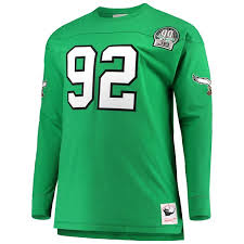Retired Big Number Green Men's Long White Ness Name Top Player Mitchell amp; Kelly Philadelphia Eagles Reggie Tall Sleeve bffbaddbb Chicago Sports Activities Network
