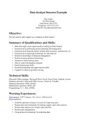 Skill Resume 48 Data Analyst Resume 2016 Entry Level Business