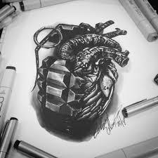 тату эскиз граната и сердце эскиз нарисован маркерами Copic и