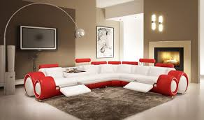 Rent A Center Living Room Set Divani Casa 4087 Modern White And Red Leather Sectional Sofa