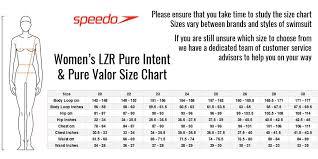 Speedo Pure Intent Size Chart