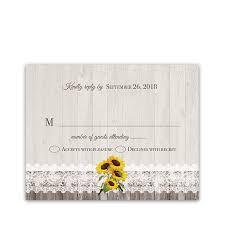 Response Cards For Weddings Rustic Sunflower Wedding Rsvp Response Cards