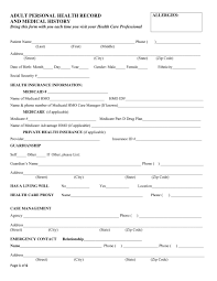 Personal Health Record Forms Free 5 Medical History Form Samples In Pdf Doc