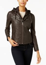 hooded faux leather moto jacket lucky brand