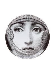 Fornasetti Art Prints Fornasetti Paper Fornasetti Face Print Coaster White Women