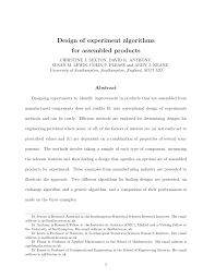 The Design Of Experiments Pdf Design Of Experiment Algorithms For Assembled Products