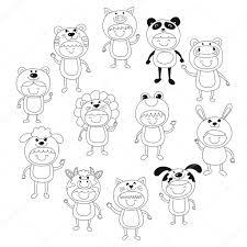動物の衣装を着ているかわいい子供のイラスト ストックベクター