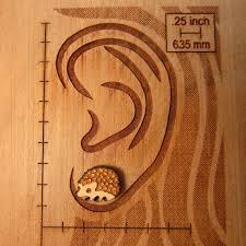 Cute Little Wood Hedgehog Stud Earrings
