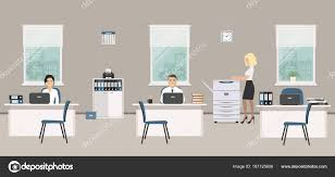 office furniture for women. Office Room In A Gray Color. Young Women And Man Are Emploees At Work. There Is White Furniture, Blue Chairs, Copy Machine On Window Background The Furniture For T