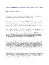 argumentative argument persuasive essay media bias in the stem  argumentative argument persuasive essay media bias in the stem cell debate stem cell bias