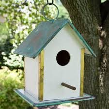 Birdhouse Legacy Hanging Bird House With Verde Copper Roof White Outdoor