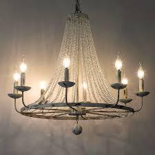 rustic crystal bead strands metal wheel large candelabra chandelier pendant lamp
