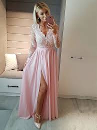 chiffon tulle v neck a line floor length appliques lace prom dresses