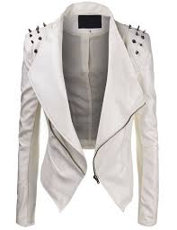 get ations lock and love women s studded faux leather motorcycle jacket s white