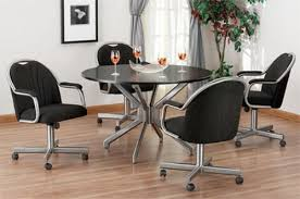 oak dining room chairs with casters amazon three in one for rolling inspirations 18