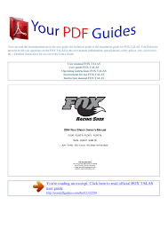 Fox Float 34 Air Pressure Chart Operating Instructions Fox Talas Yourpdfguides Com