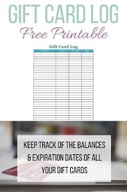 Gift Card Log Free Printable Perfect For Tracking Gift Card
