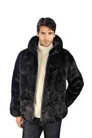 black coat with fur hood mens genuine rabbit fur hooded jacket black puffer jacket with fur