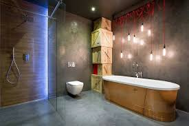 bachelor pad lighting. Dream Houses: Stripped Down Industrial Lighting Coupled With Stunning Ambient In The Bathroom Bachelor Pad A