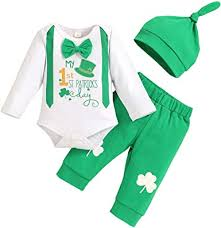 My 1ST St.Patrick's Day Outfit Newborn Baby Boy Girl Romper+<b>Four</b> ...