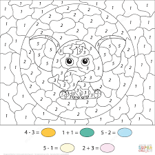 Small Picture Cute Elephant Color by Number Free Printable Coloring Pages