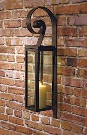 scroll tall glass and iron wall sconce