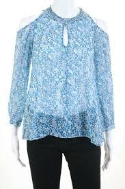 Details About Derek Lam 10 Crosby Blue Na Silk Blouse Knit Top Size 0