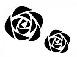 薔薇の白黒シルエットのイラスト イラスト無料かわいいテンプレート