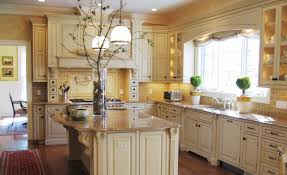 Kitchen design ideas using yellow kitchen wall paint including white wood glass  door
