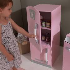Kid Craft Retro Kitchen Pink Retro Play Kitchen Refrigerator