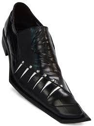 zota mens black white leather italian style angular toe luxe dress slip on shoe