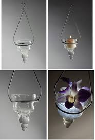 Cone Hanging Candle Holder With Glass Candle Holders