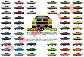 Hq Holden Colour Chart Holden Hq Monaro Customised Print 1971 To 1974 Colour Chart