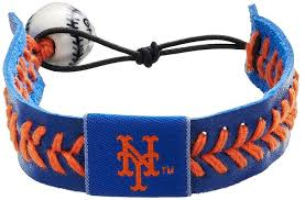 gamewear new york mets leather baseball bracelet