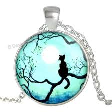 details about moon light sky black cat tree silhouette silver pendant necklace jewellery uk