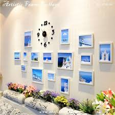 mediterranean style white artistic wooden frame picture collage with black diy wall clock creative living décor set