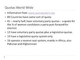 quotas and contemporary politics iuml frac an academic topic subject of 2 quotas