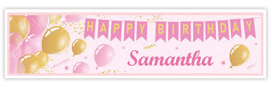 Pink Banners Personalised Pink And Gold Birthday Banner
