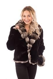 ranch mink fur coat jacket with chinchilla collar trim