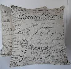two 2 decorative french script pillow covers beige with