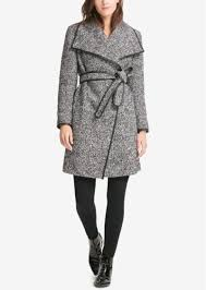 dkny faux leather trim wrap coat created for macy s