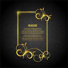 black and gold frame png. Gold Floral Frame On A Black Background And Png K