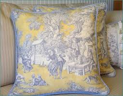 yellow and blue toile bedding