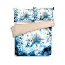 snow wolf animal duvet quilt cover king queen twin sizes 3d printed kids boys white blue