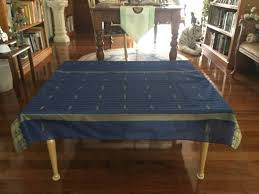 coffee table cover royal blue with gold pattern and trim