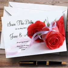 Red Save The Date Cards Red Rose White Ribbon Personalised Wedding Save The Date Cards
