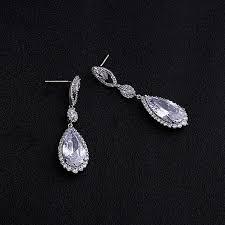 vintage crystal bridal earrings long silver dangle wedding earrings bridal jewelry cubic zirconia chandelier earrings bridal accessories